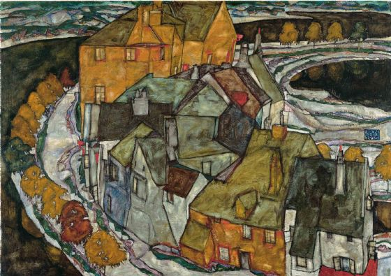 Schiele, Egon: Crescent of Houses II (Island Town). Fine Art Print/Poster. Sizes: A4/A3/A2/A1 (003672)